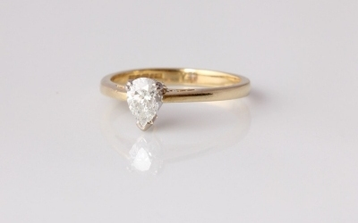 Diamond Pear Solitaire Ring