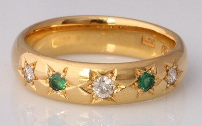 Gold Emerald & Diamond Band Ring