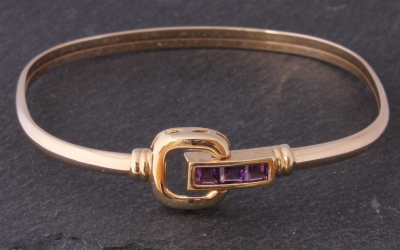 Gold Amethyst Bangle