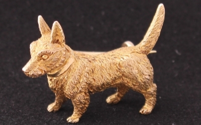 Gold Dog Brooch