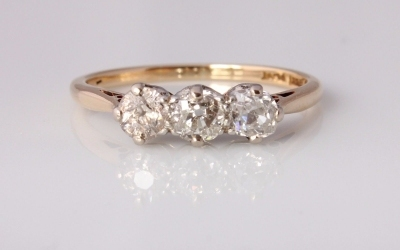Gold Old Cut Trilogy Ring
