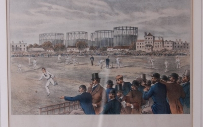 International Cricket Match Lithograph