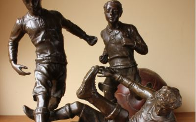 Large Bronze Footballers