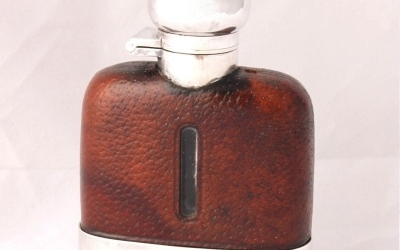 Leather Silver Plate Flask