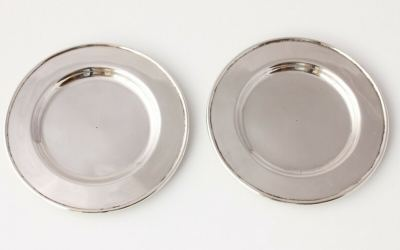 Pair Chinese Silver Dishes
