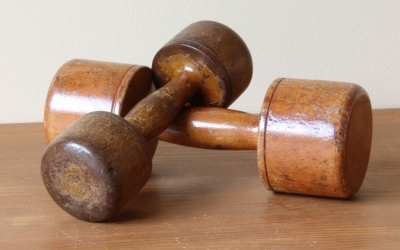 Antique Wooden Dumbbell