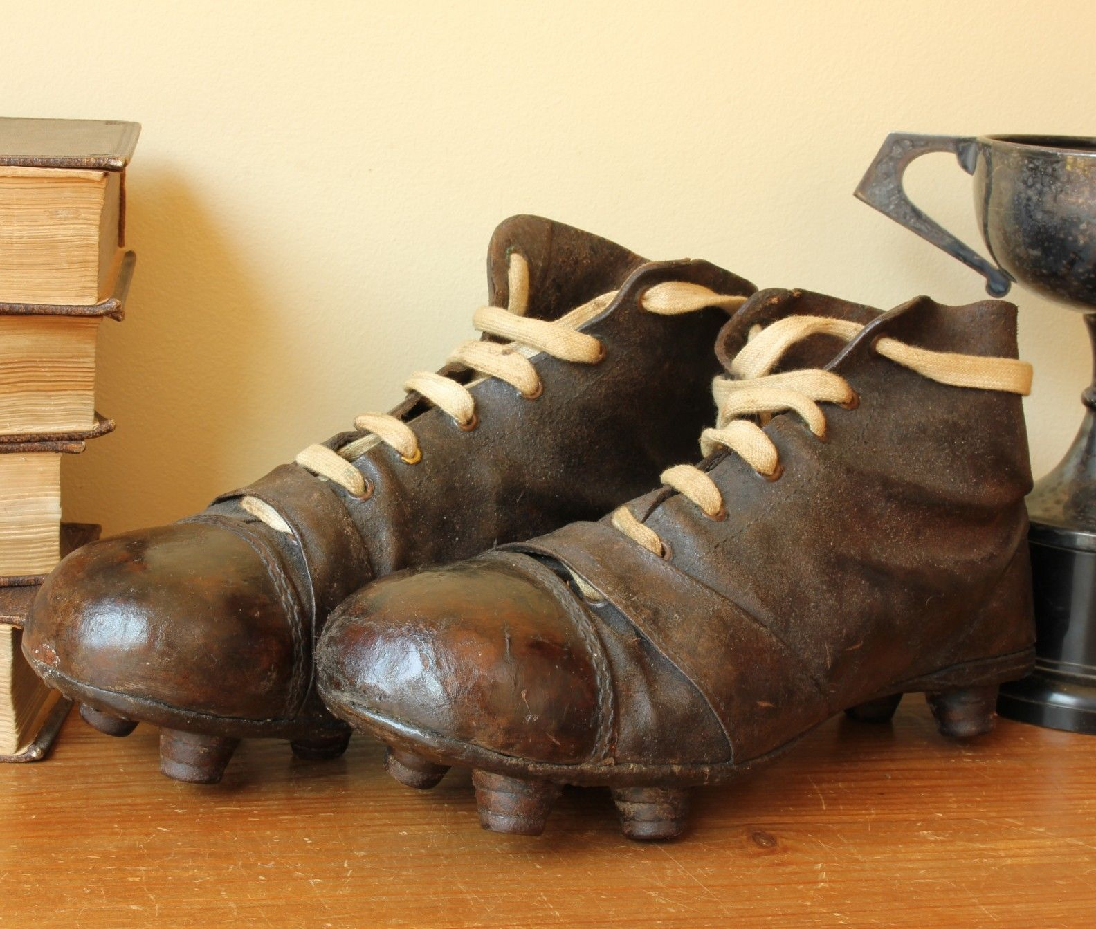 efcd82ecd087 Antique Leather Football Boots. Old Vintage Soccer Cleats c1920.