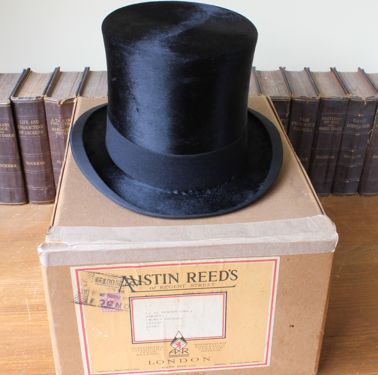 Antique Black Moleskin Plush Silk Top Hat Box Case Austin Reed 1930 S 6 1 2
