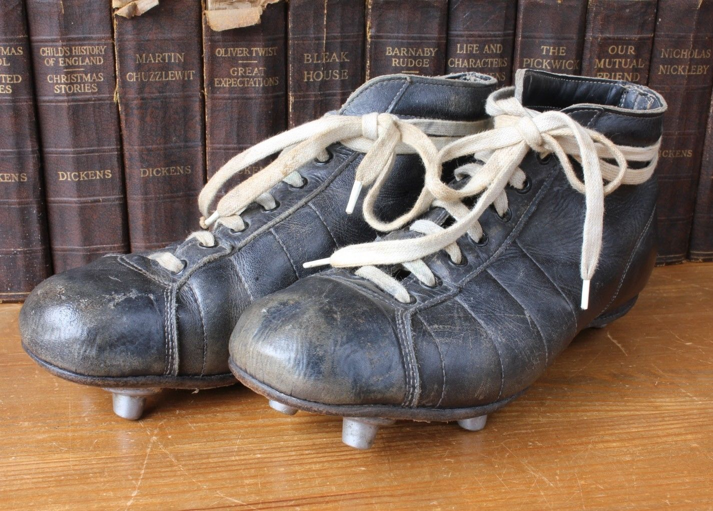 Vintage Rugby Boots Old Black Leather Metal Stud Cleats
