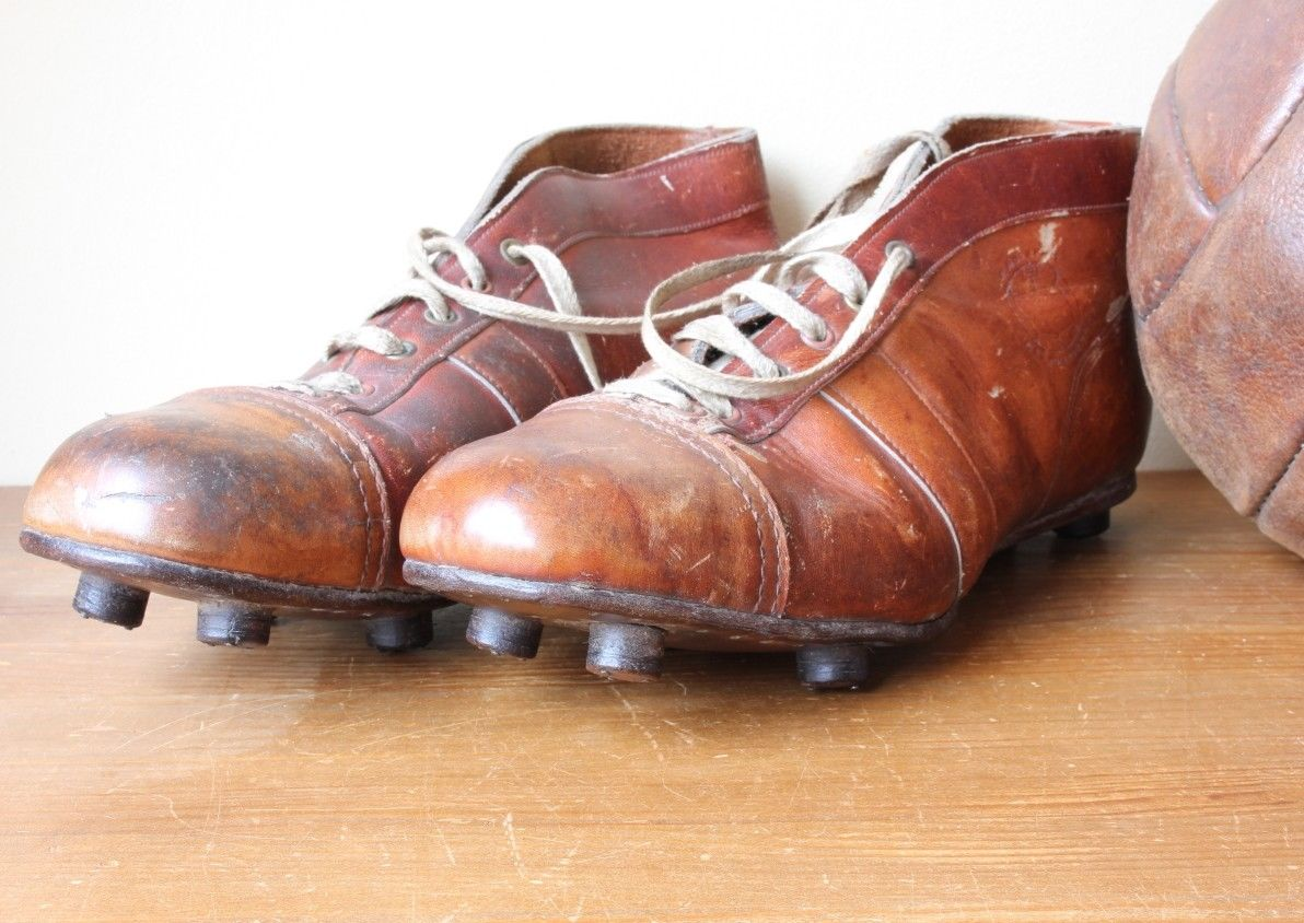 e1cda1bfb14 Vintage Brown Leather International Football Boots. Old Soccer Cleats 1950s.