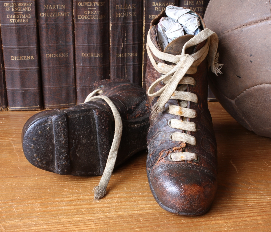 6a793e24b Antique Leather Football Boots. Vintage Old Soccer Cleats. Bar Studs. Small  12.