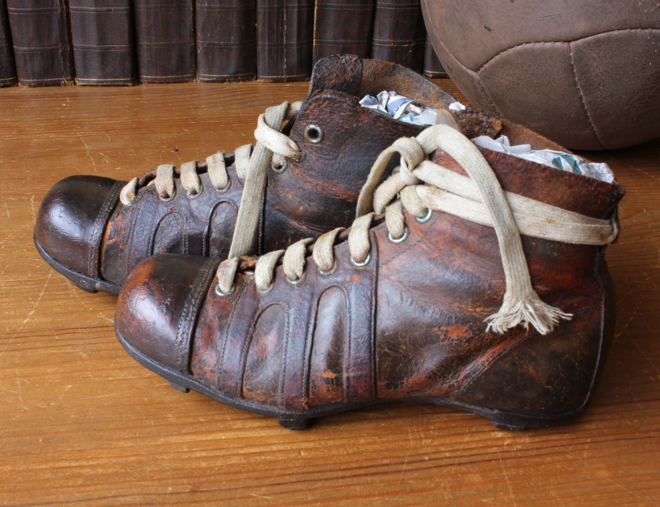 6ad83a6c2042 Antique Leather Football Boots. Vintage Old Soccer Cleats. Bar Studs. Small  12.