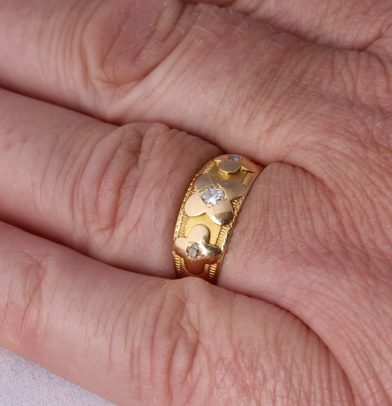 Antique Victorian 18ct Gold Diamond Gypsy Flower Ring. 1890. Size K.