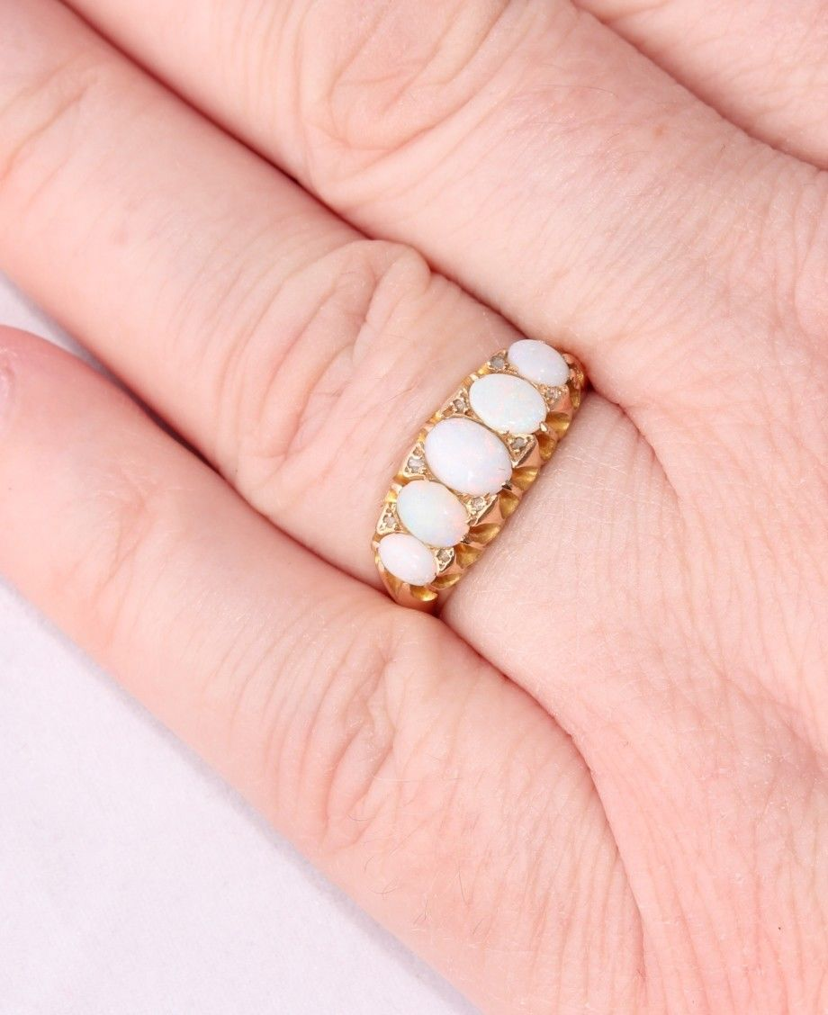 Antique Edwardian 18ct Yellow Gold Opal Cabochon & Diamond Ring 1902 ...