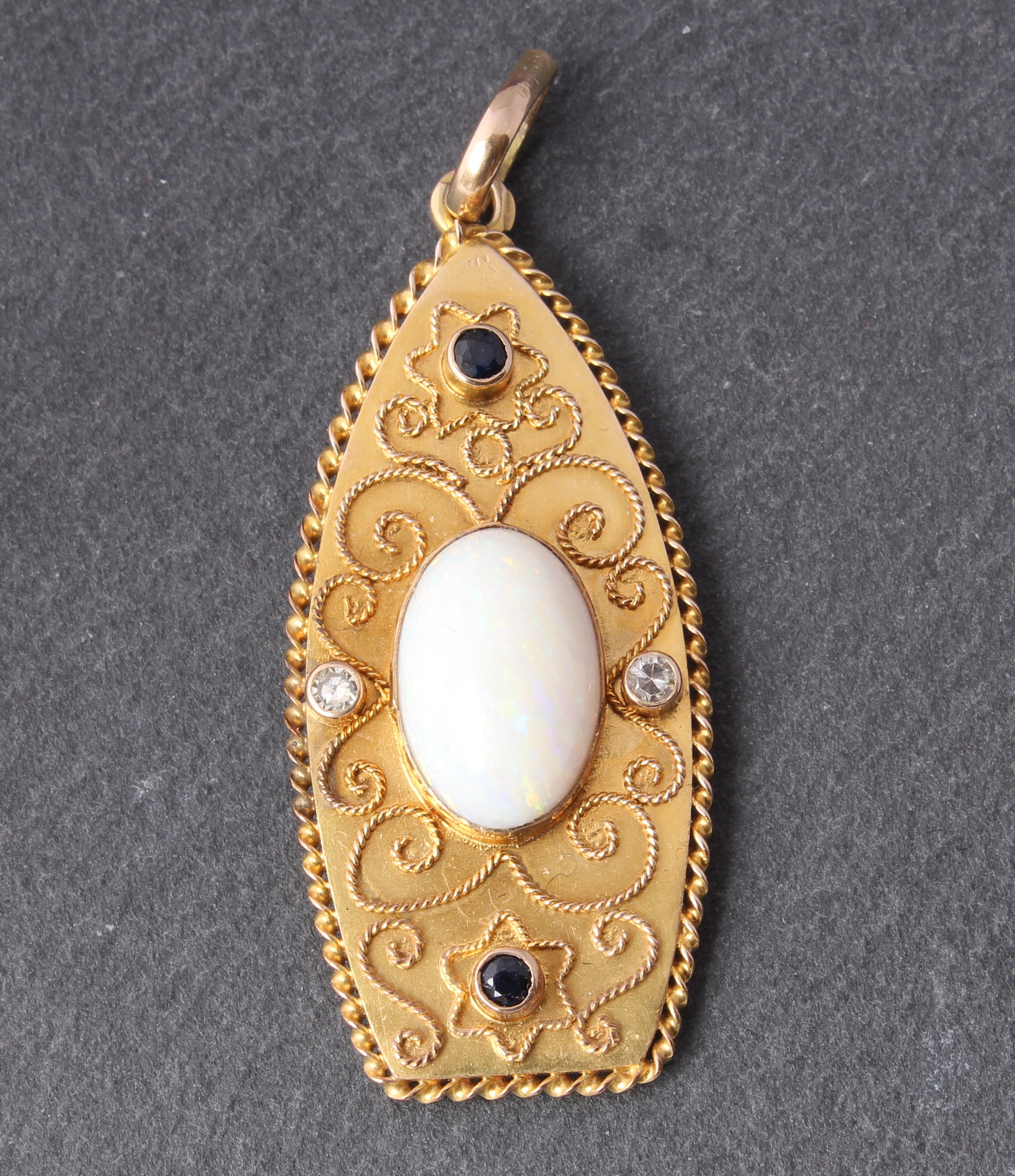 18ct yellow gold white opal blue sapphire natural diamond 18ct yellow gold white opal blue sapphire natural diamond necklace pendant aloadofball Image collections