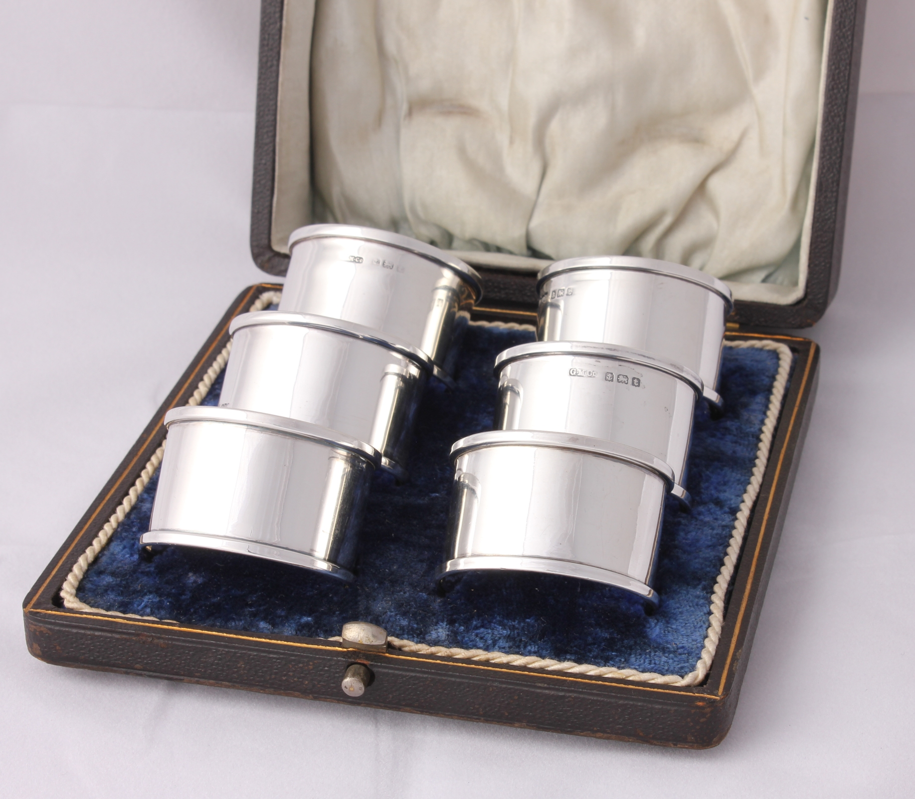 6 Boxed Gorham Solid Silver Napkin Rings Box Set Of Six Hallmarked 1918