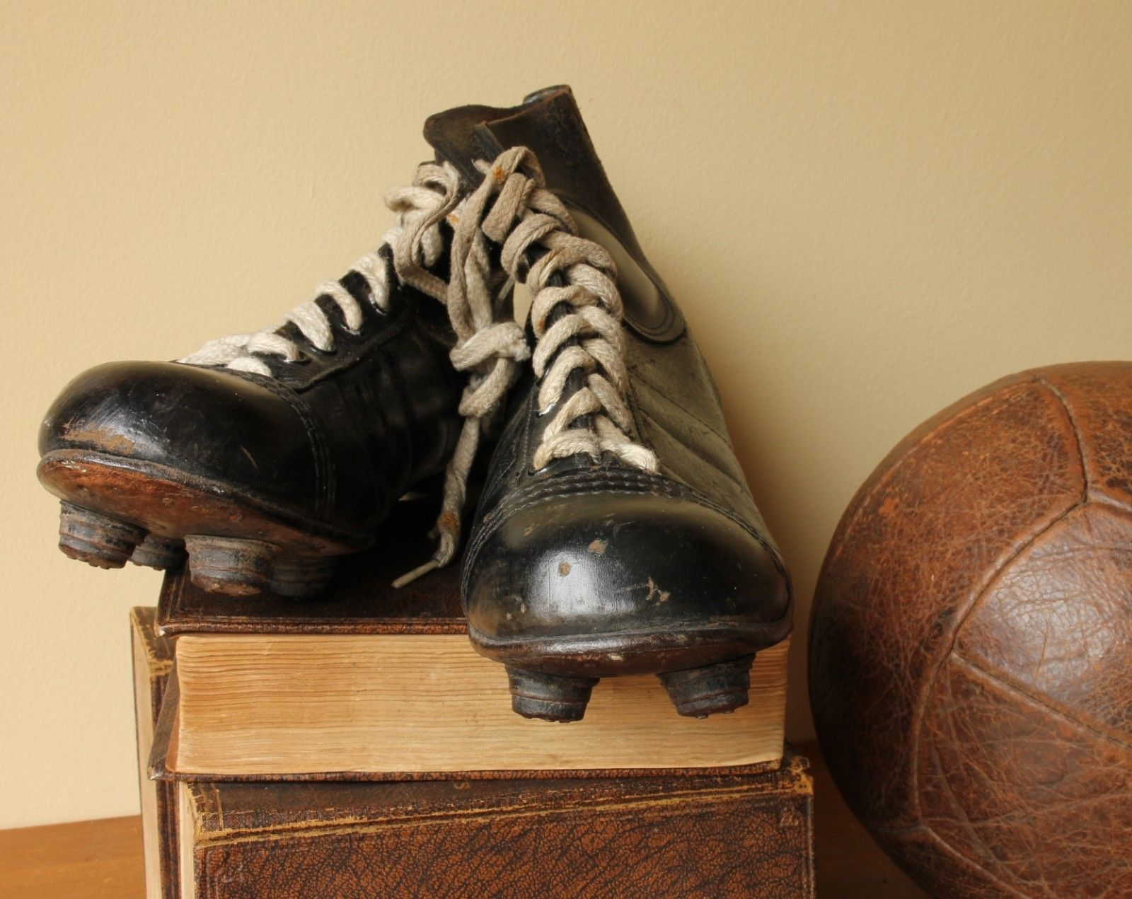 a61e6823df06 Vintage Pocock Pentagon Black Leather Football Boots. Old Soccer Cleats  c1950.