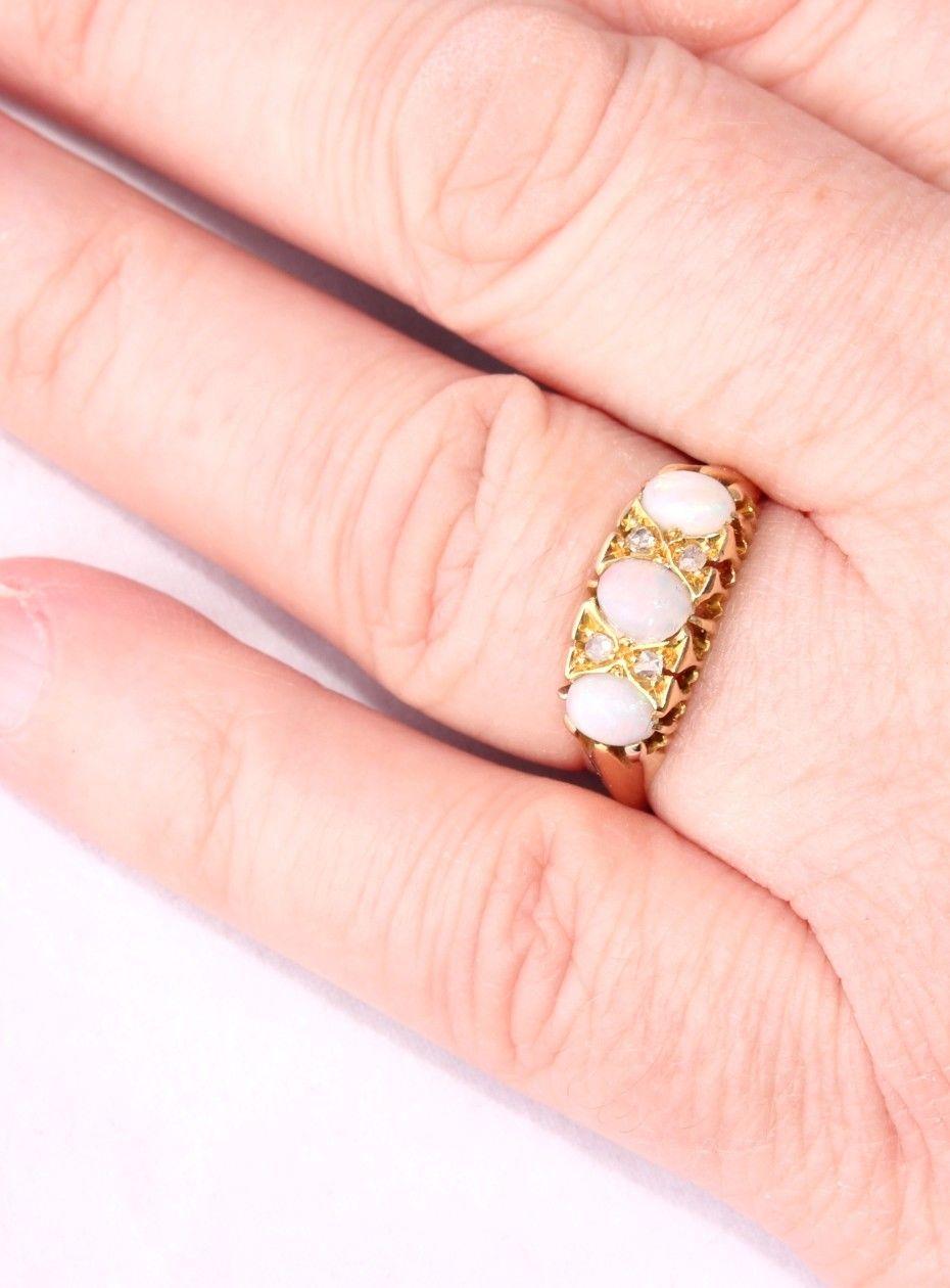 Antique Victorian 18ct Yellow Gold Opal Cabochon & Diamond Ring 1900 ...