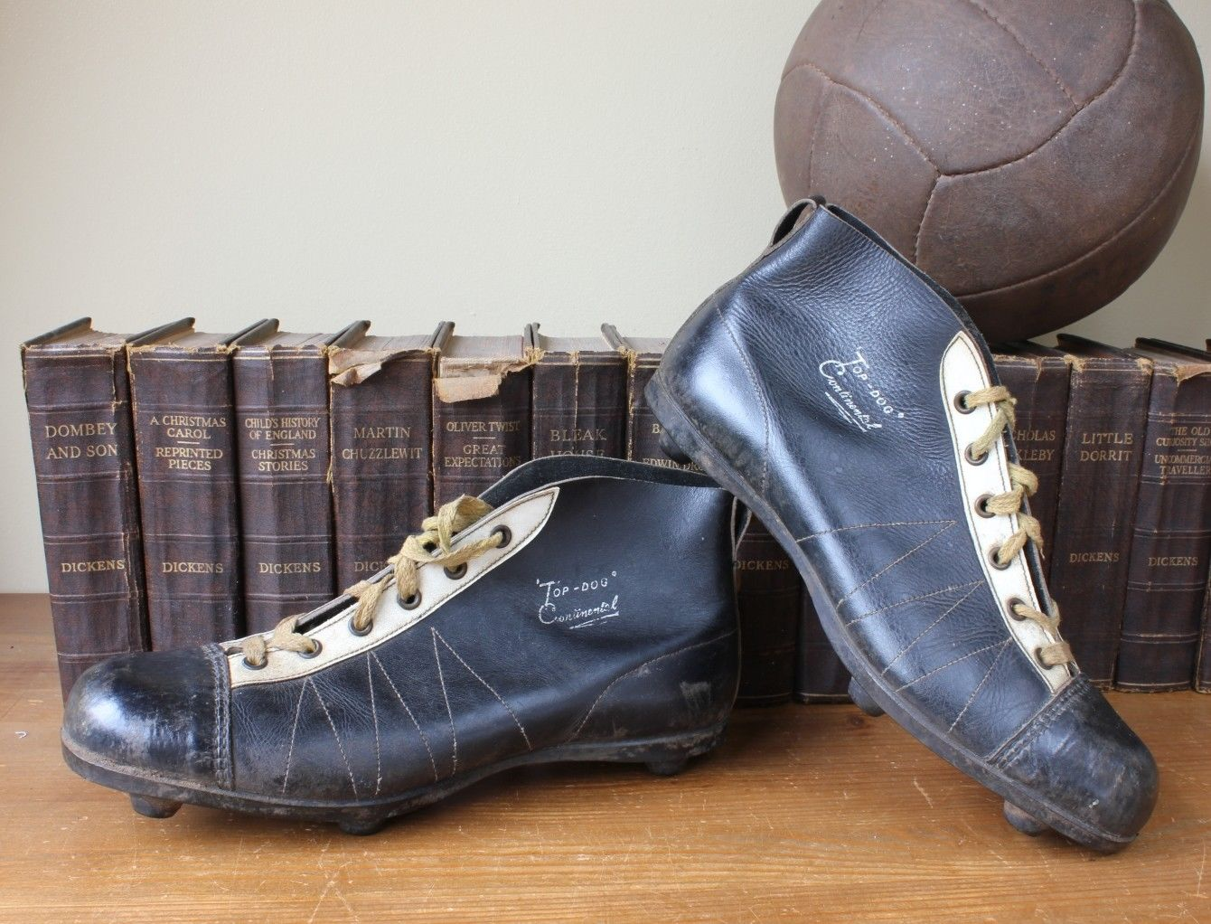 5fe561a0c Vintage Top Dog Continental Black Leather Football Boots. Old Soccer Cleats  c1950.