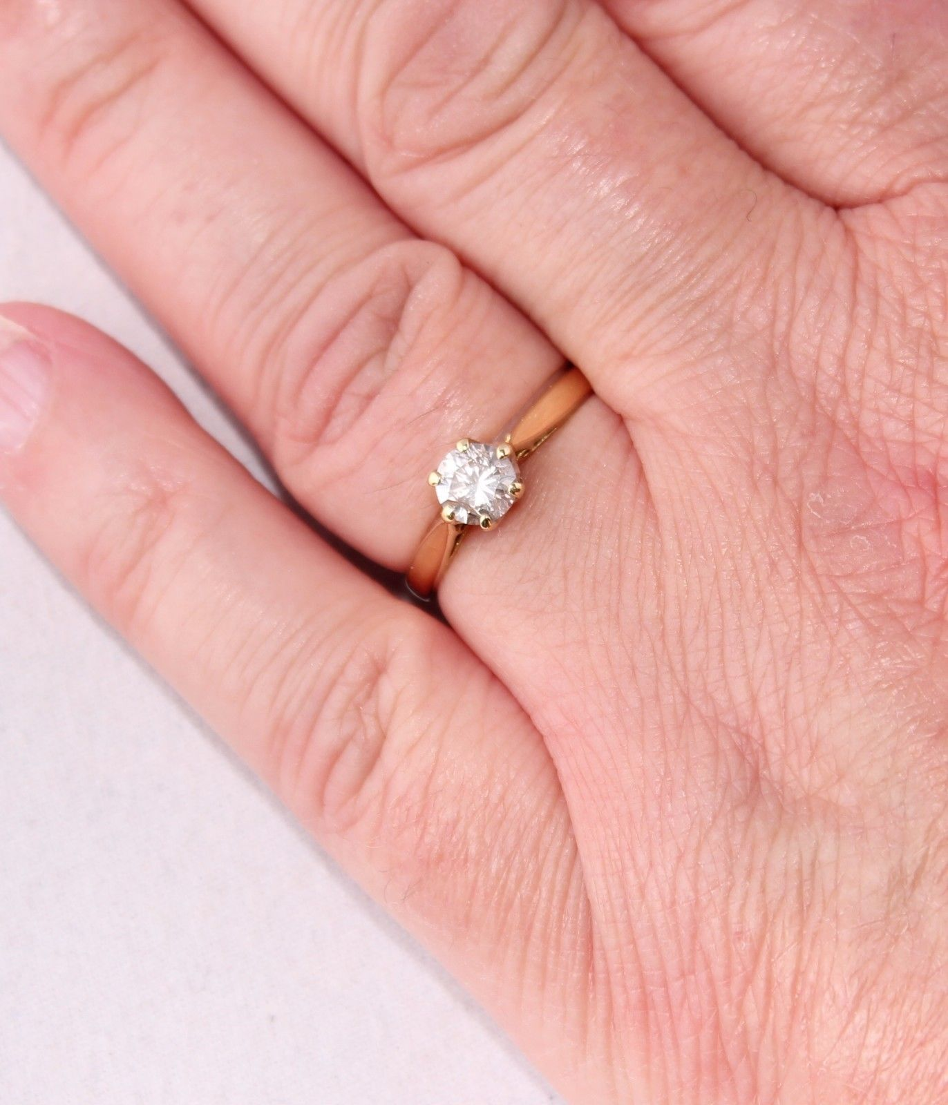 18ct Yellow Gold & Diamond 0.50ct Solitaire Engagement Ring. Size J 1/2.